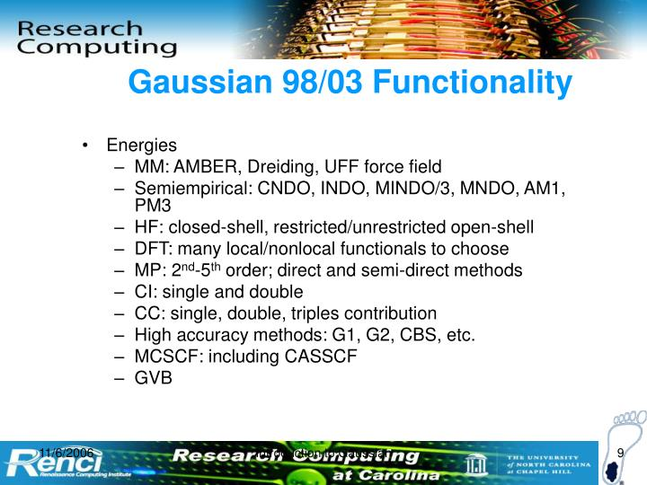 Gaussian 98/03 Functionality