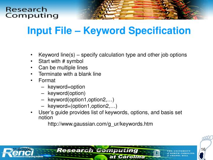 Input File – Keyword Specification