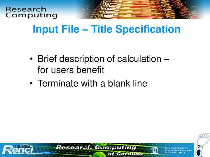 Input File – Title Specification
