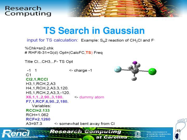 TS Search in Gaussian