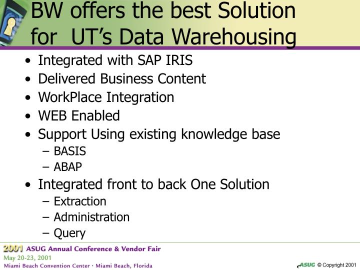 BW offers the best Solution for  UT's Data Warehousing