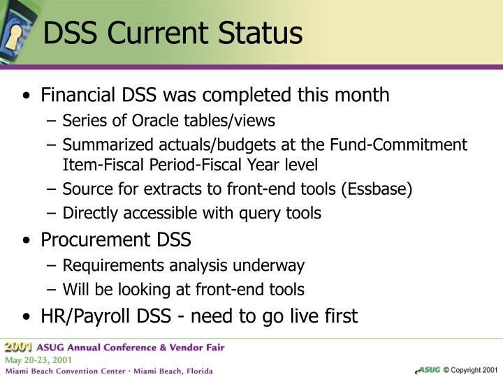DSS Current Status