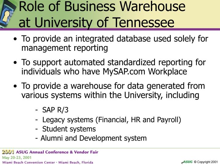 Role of Business Warehouse