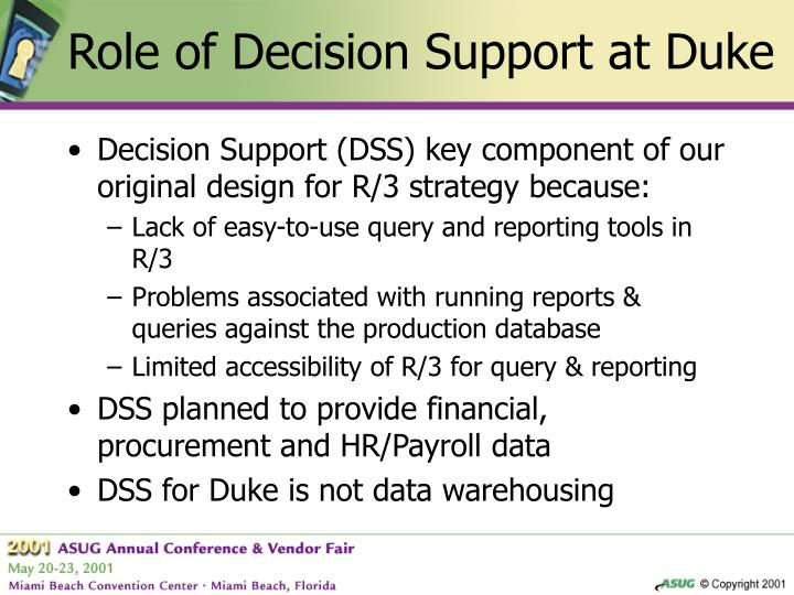 Role of Decision Support at Duke