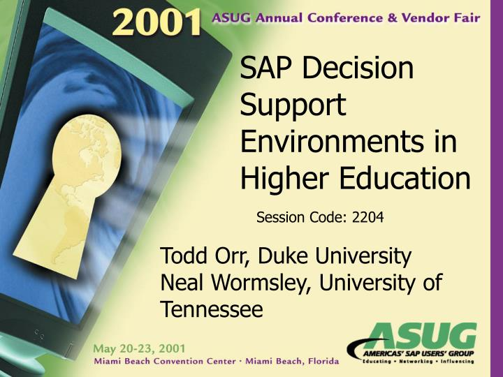 Sap decision support environments in higher education