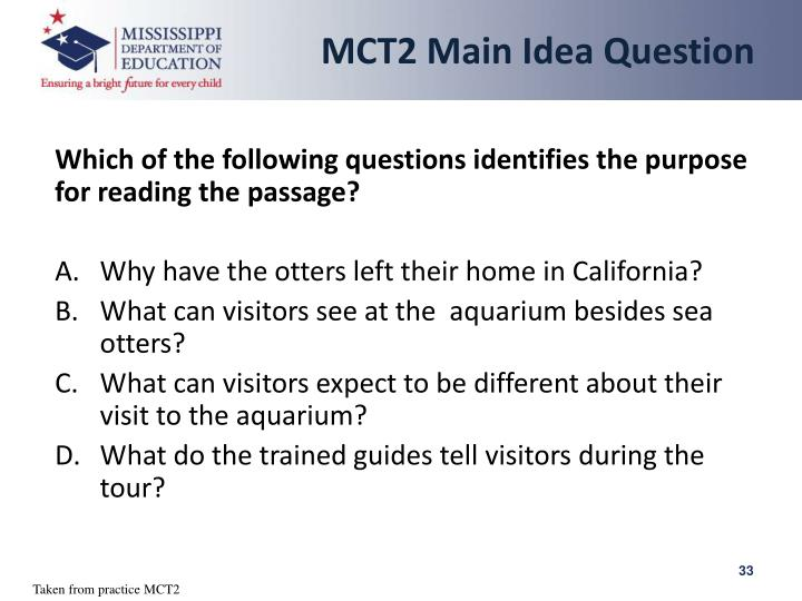 MCT2 Main Idea Question