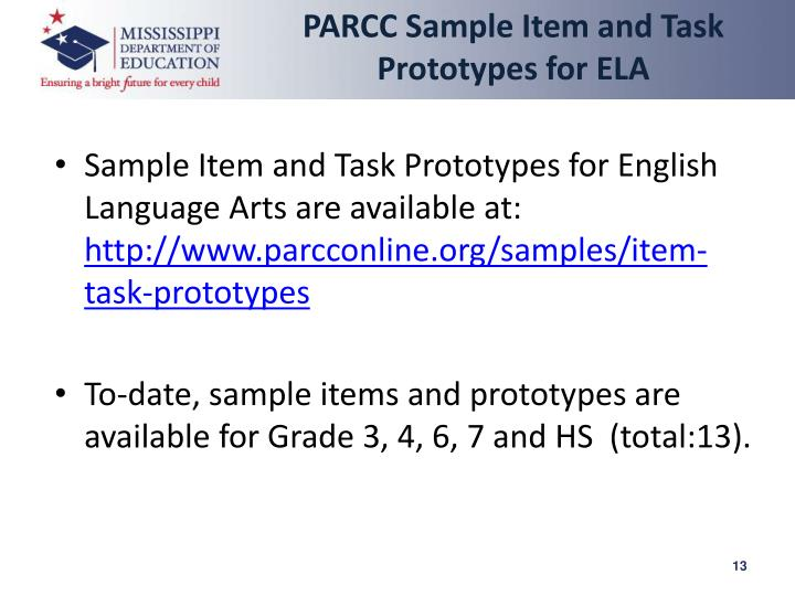 PARCC Sample Item and Task Prototypes for ELA
