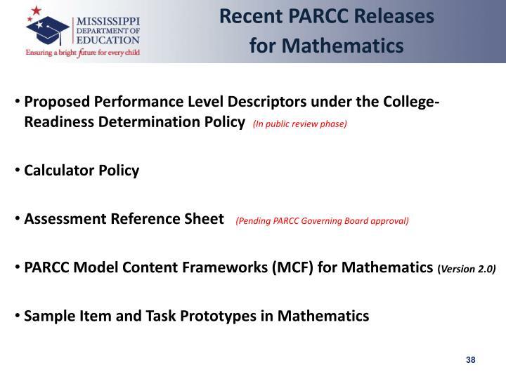 Recent PARCC Releases