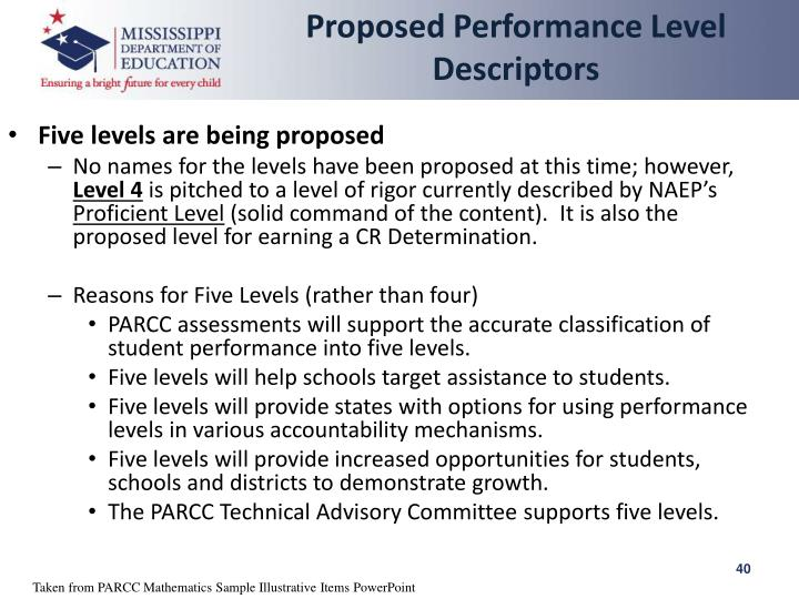 Proposed Performance Level Descriptors