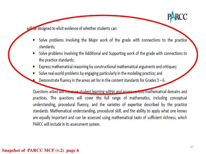 Snapshot of  PARCC MCF (v.2)  page 6