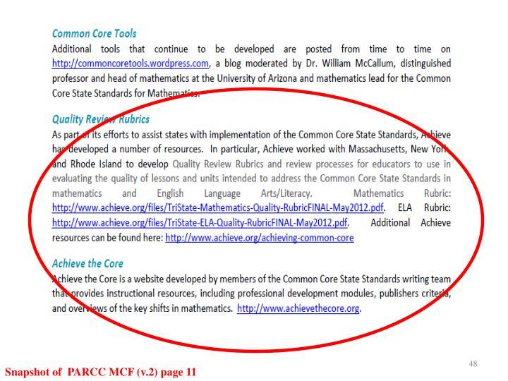 Snapshot of  PARCC MCF (v.2) page 11