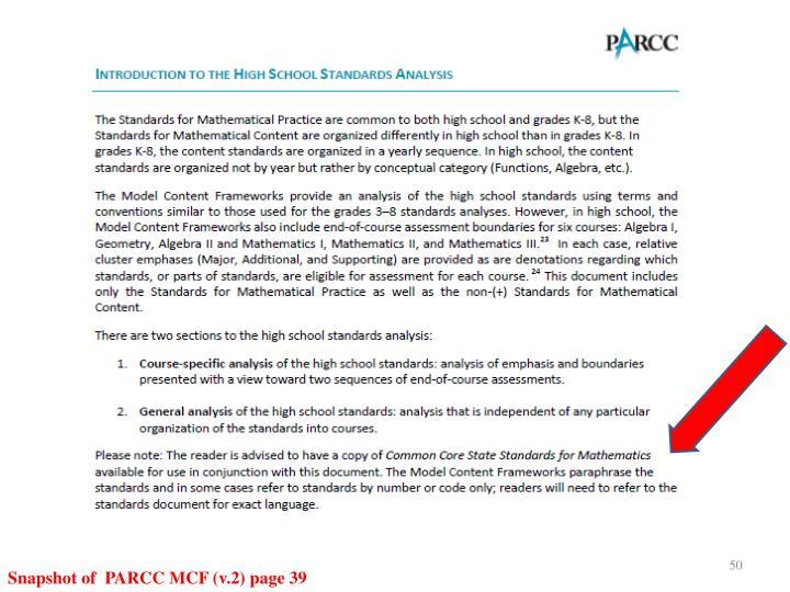 Snapshot of  PARCC MCF (v.2) page 39