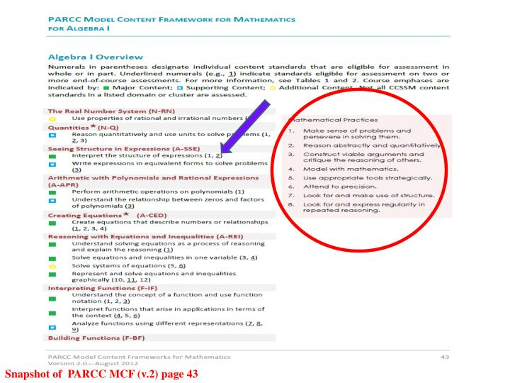 Snapshot of  PARCC MCF (v.2) page 43