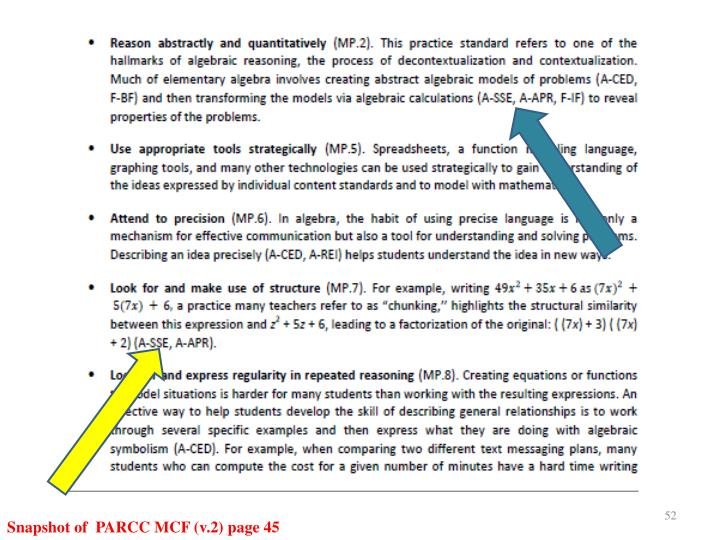 Snapshot of  PARCC MCF (v.2) page 45