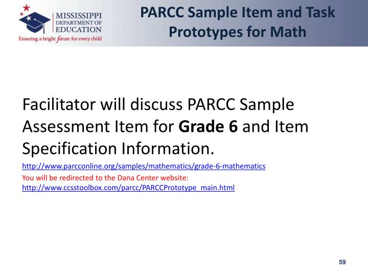 PARCC Sample Item and Task Prototypes for Math