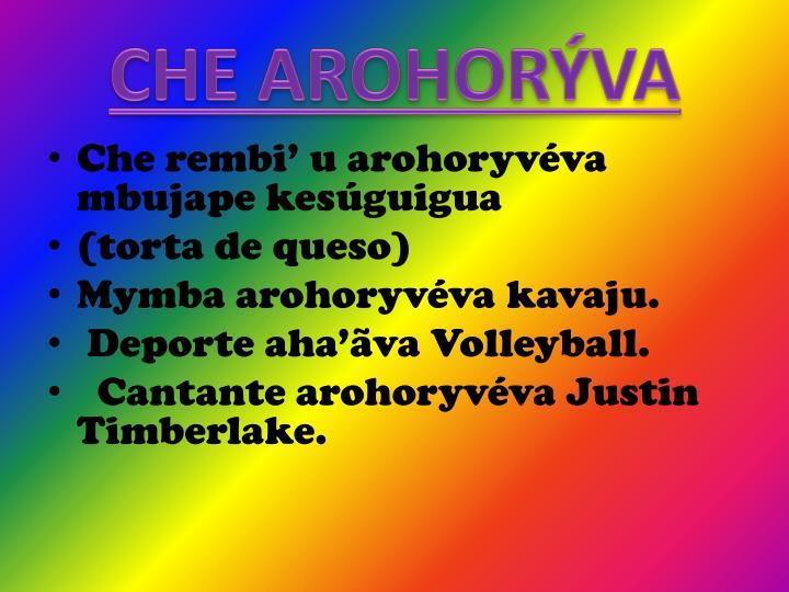 CHE AROHORÝVA