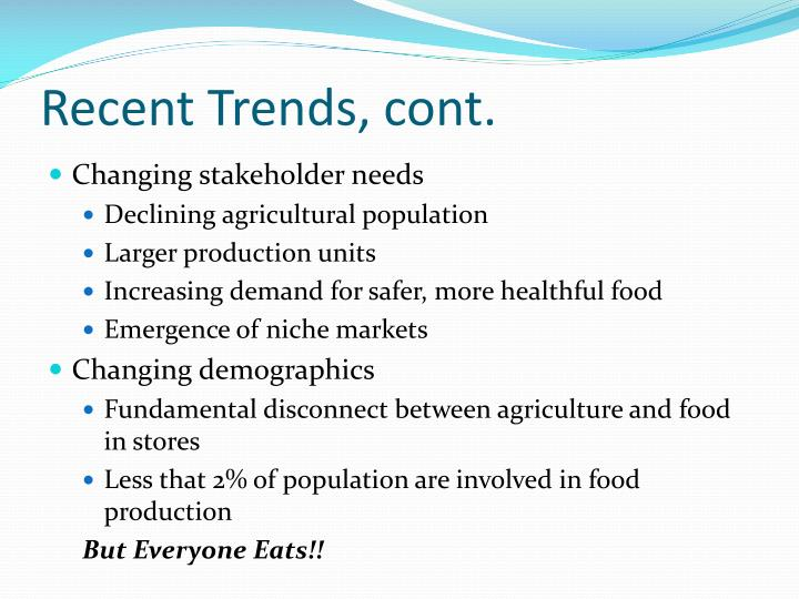 Recent Trends, cont.