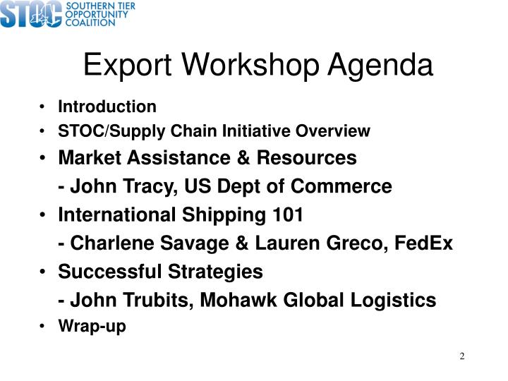 Export Workshop Agenda
