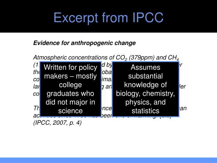 Excerpt from IPCC