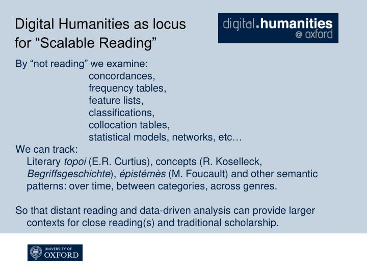 Digital Humanities as locus