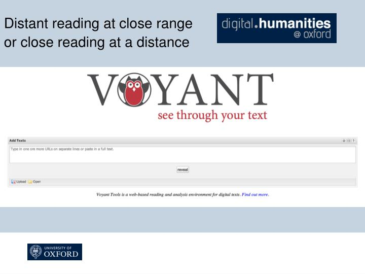 Distant reading at close range