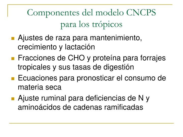 Componentes del modelo CNCPS       para los trópicos