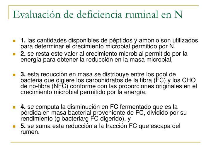 Evaluación de deficiencia ruminal en N