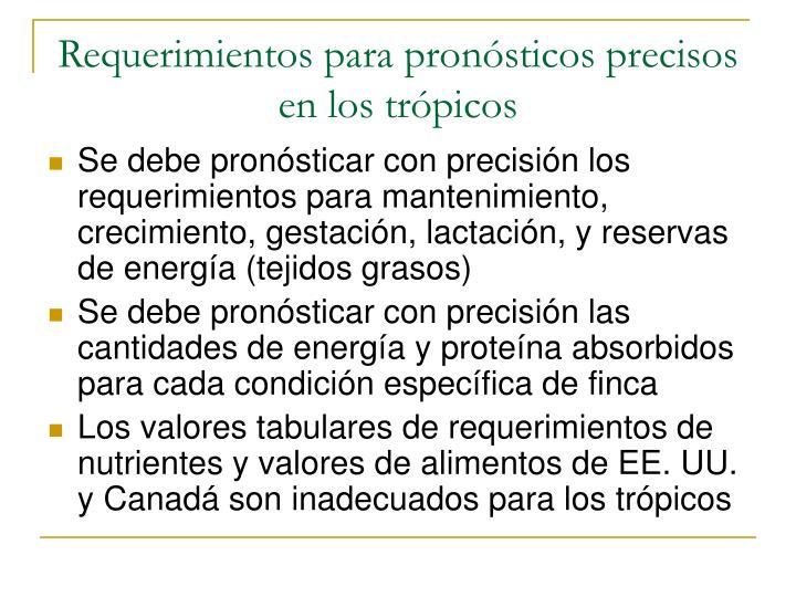 Requerimientos para pronósticos precisos en los trópicos