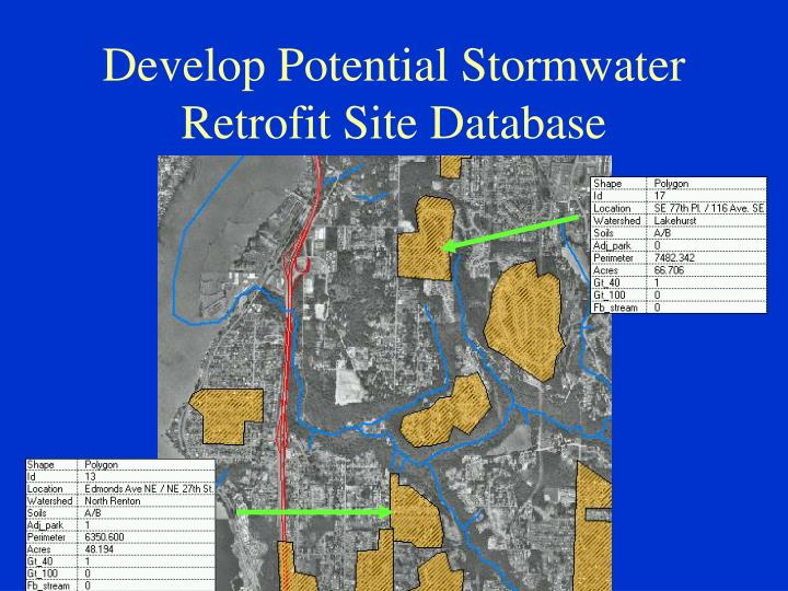 Develop Potential Stormwater Retrofit Site Database
