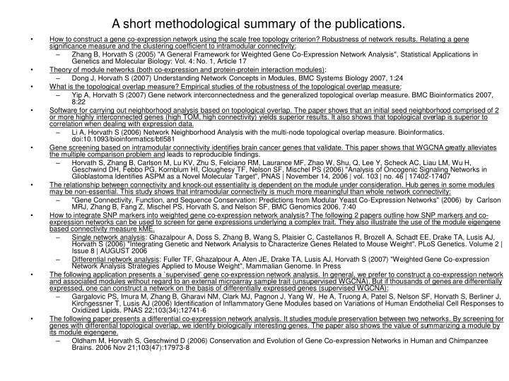 A short methodological summary of the publications.