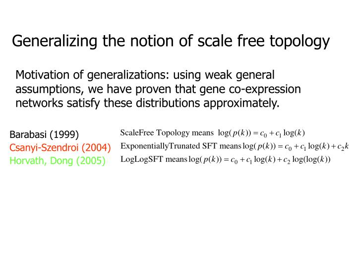 Generalizing the notion of scale free topology