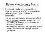 network adjacency matrix