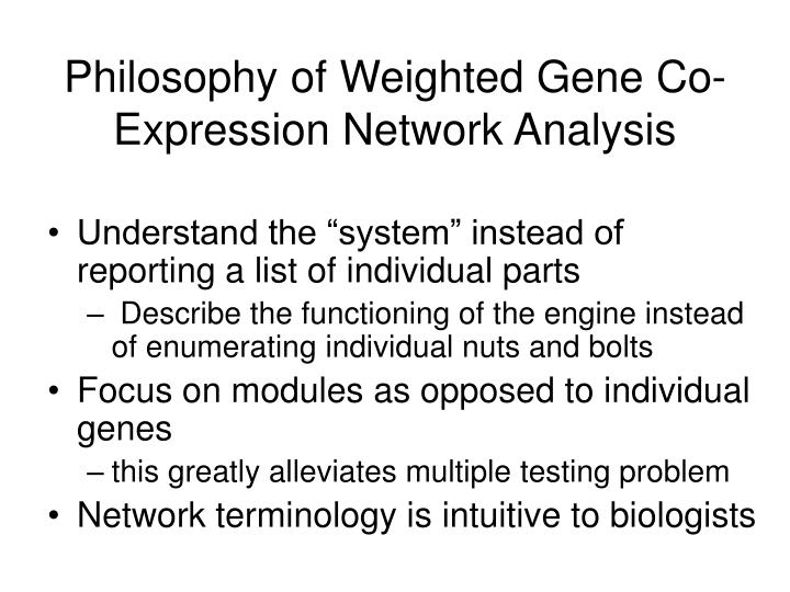 Philosophy of Weighted Gene Co-Expression Network Analysis