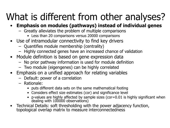 What is different from other analyses?