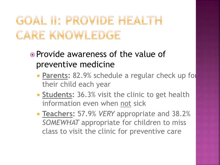 Goal II: Provide Health Care Knowledge