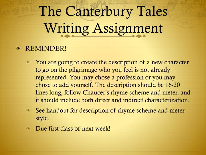 The Canterbury Tales Writing Assignment