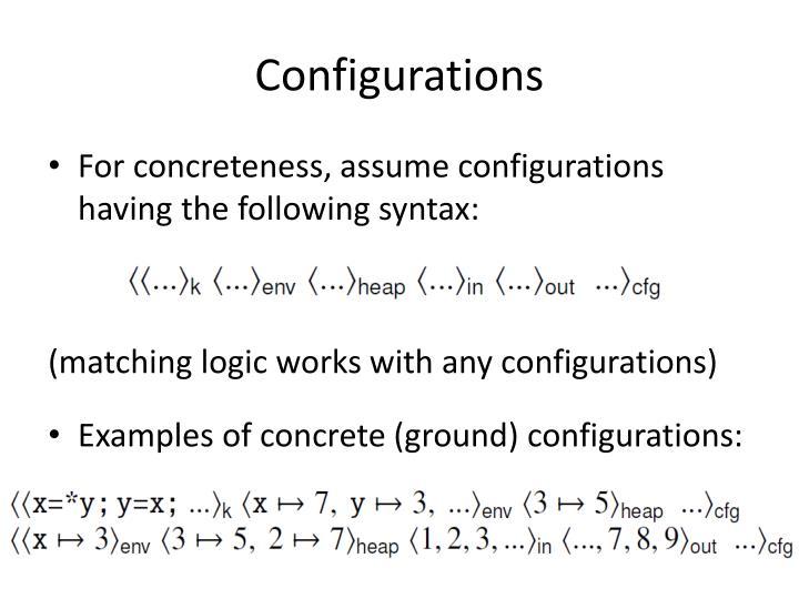 Configurations