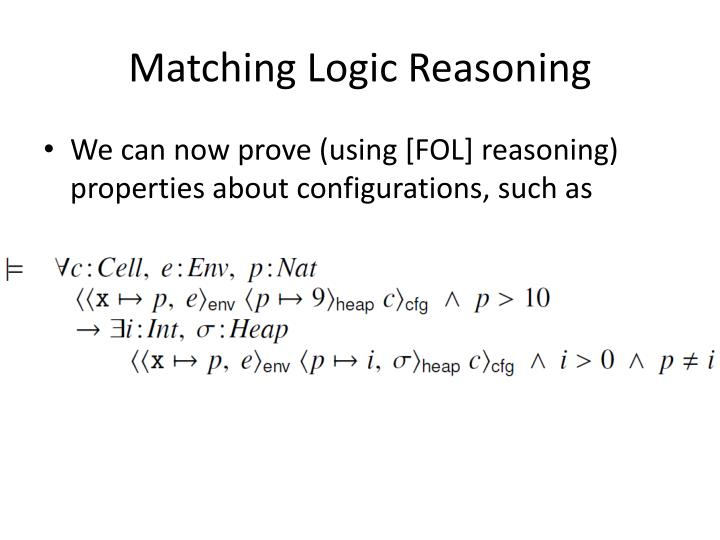 Matching Logic Reasoning
