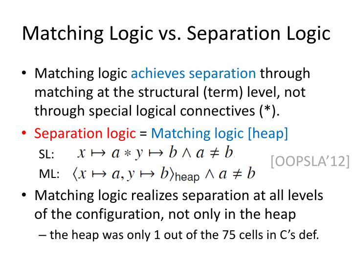 Matching Logic vs. Separation Logic
