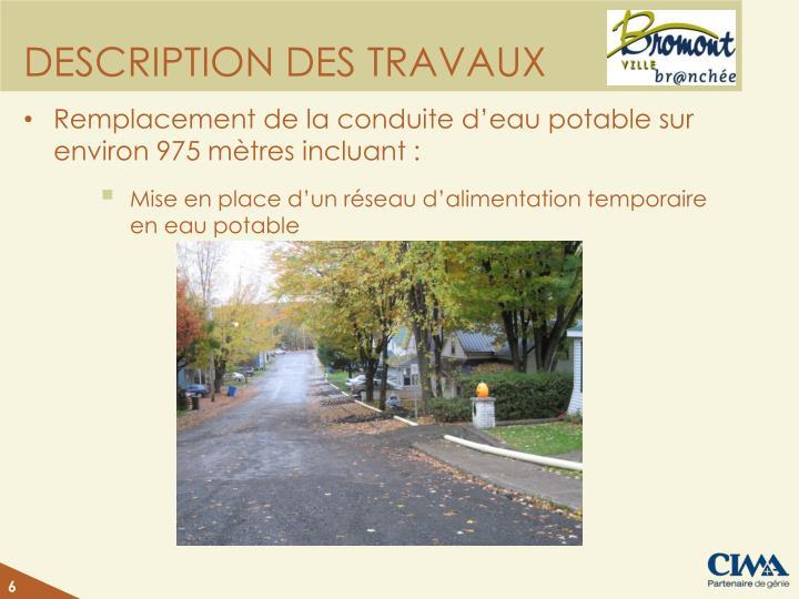 DESCRIPTION DES TRAVAUX