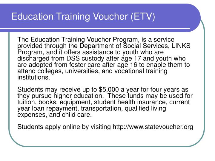 Education Training Voucher (ETV)