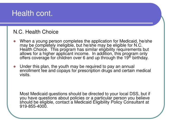 Health cont.