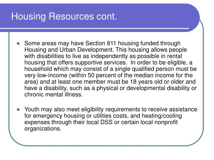 Housing Resources cont.