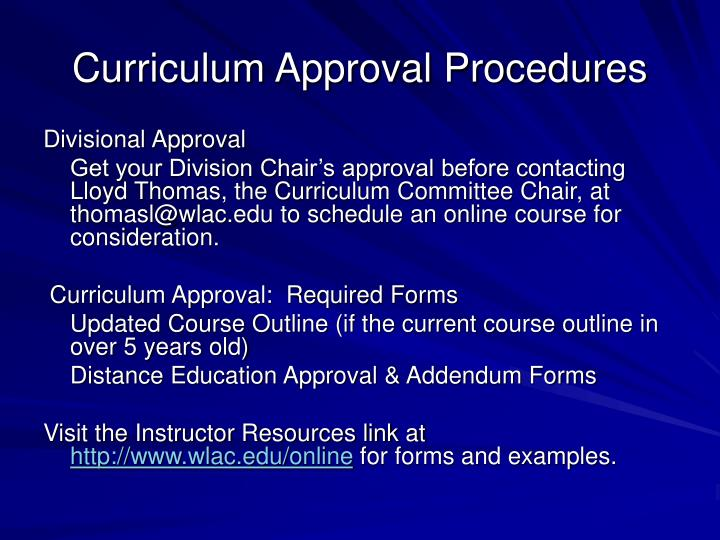 Curriculum Approval Procedures