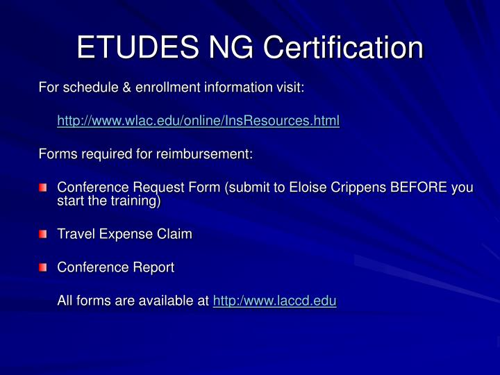 ETUDES NG Certification