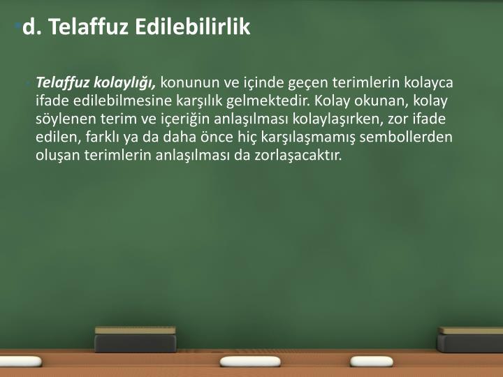 d. Telaffuz
