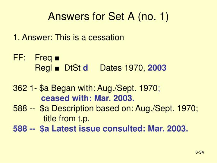Answers for Set A (no. 1)