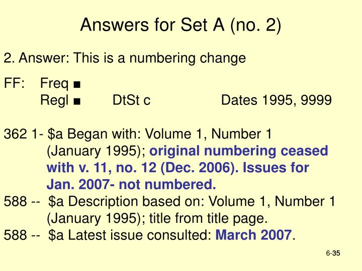 Answers for Set A (no. 2)