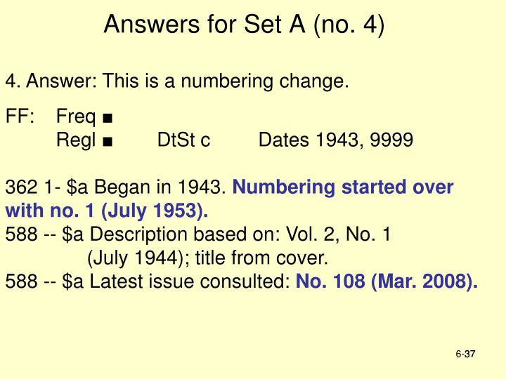 Answers for Set A (no. 4)