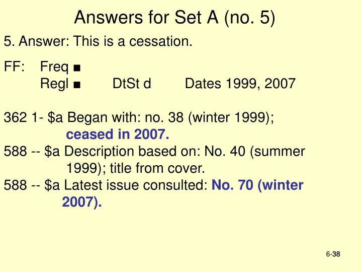 Answers for Set A (no. 5)